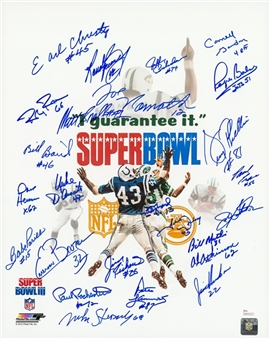 1969 New York Jets Team Signed 16x20 Super Bowl III Program Cover Litho with 25 Signatures (JSA)