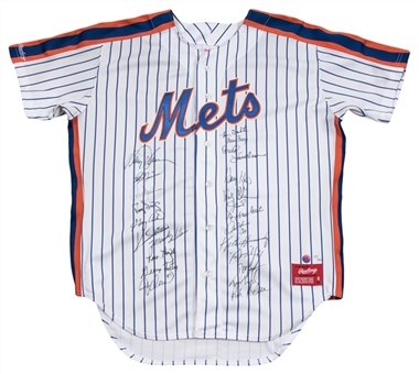 1986 New York Mets WS Champ Team Signed Pinstripe Home Jersey With 23 Signatures Including Carter, Strawberry, Gooden & Hernandez (JSA)