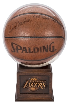 1989 Kareem Abdul-Jabbar Game Used, Signed & Inscribed Spalding Basketball Used For Last Playoff Game (Abdul-Jabbar LOA)