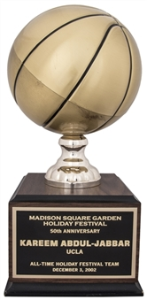 2002 Madison Square Garden Holiday Festival 50th Anniversary Trophy Presented To Kareem Abdul-Jabbar (Abdul-Jabbar LOA)