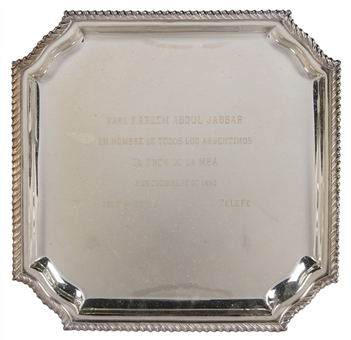 1993 Square Silver Plate Presented To Kareem Abdul-Jabbar On Behalf Of All Argentinians (Abdul-Jabbar LOA)
