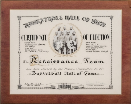 1964 The Renaissance Team Basketball Hall of Fame Certificate of Election (Abdul-Jabbar LOA)