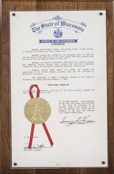 1988 The Governor of The State of Wisconsin Proclamation of Kareem Abdul-Jabbar Day (Abdul-Jabbar LOA)