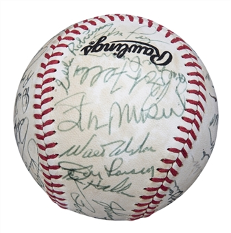 1980s Cracker Jack Team Signed Baseball With 37 Signatures Including Musial, DiMaggio, and Killebrew (Beckett)