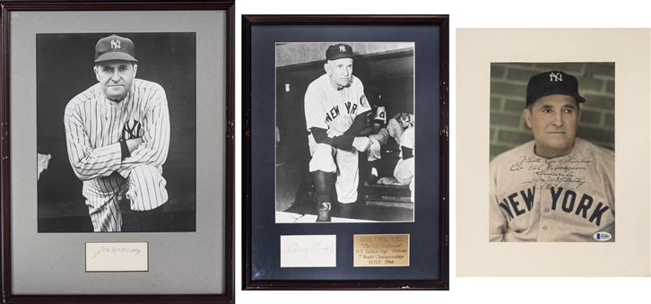Lot of (3) Joe  McCarthy & Casey Stengel Signed Cuts and Photos Including 2 In Framed Displays (Beckett)
