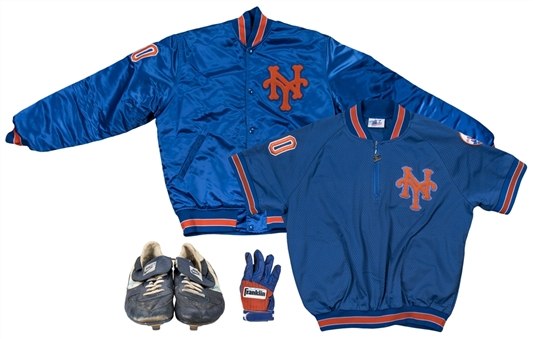 Lot of (4) Circa 1986 Howard Johnson Game Used & Signed New York Mets Dugout Jacket, Pullover Jacket, Cleats & Batting Glove (JT Sports & Beckett)