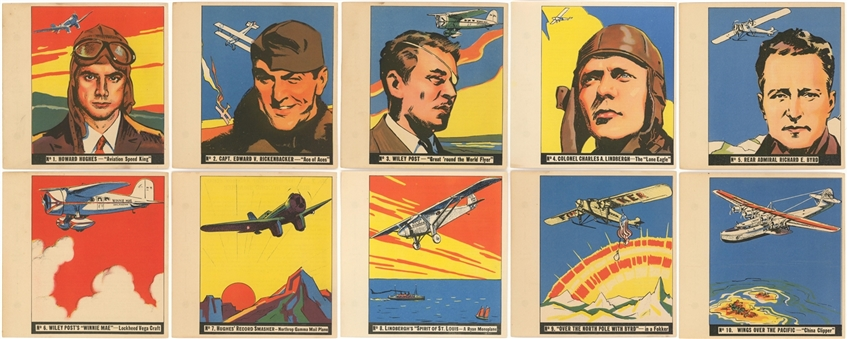 "1936 R65 Goudey ""History of Aviation"" High Grade Complete Set (10)"