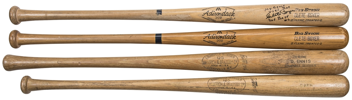 Lot of (4) Game Used Bats: Boyer (x2), Ennis & Dark (PSA/DNA, MLB Authenticated & JSA)