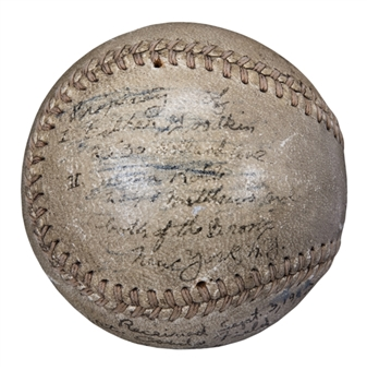 1943 Buster Maynard Game Used & Signed Baseball From Polo Grounds (Beckett)