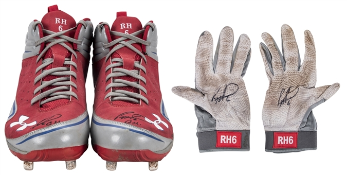 Lot of (2) Ryan Howard Game Used Under Armour Cleats & Batting Gloves (Howard LOA)
