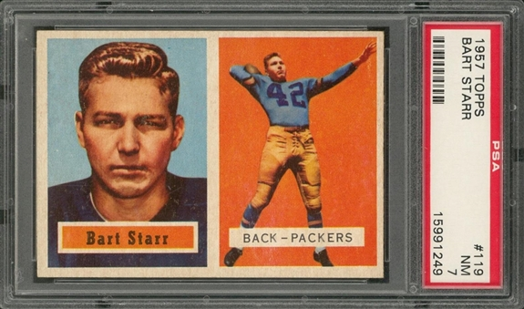 1957 Topps Football #119 Bart Starr Rookie Card – PSA NM 7