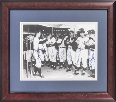 New York Yankees Multi Signed Photo With 8 Signatures Including Berra & Rizzuto In 15x13 Framed Display (JSA & Beckett)