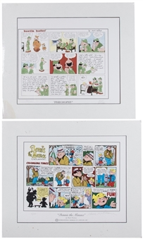 "Lot of (2) Hank Ketcham & Mort Walker Signed ""Beetle Bailey"" & ""Dennis the Menace"" Matted Comic Strips (Beckett)"