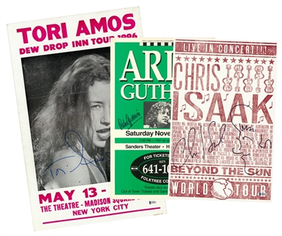 Lot of (3) Musicians Signed Posters Featuring Tori Amos, Arlo Guthrie & Chris Isaak (Beckett)