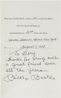 "Mickey Mantle Signed & Inscribed ""The Mick"" Hardcover Book (Beckett)"