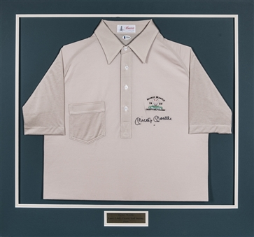 Mickey Mantle Signed 1989 Loma Linda Golf Shirt In 32x30 Matted Display (Beckett)