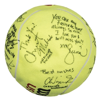Womens Tennis Association Multi Signed Wilson US Open Oversized Tennis Ball With 14 Signatures From Dick Enberg Collection (Letter of Provenance & Beckett)