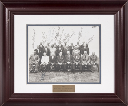 1969 Hall of Fame Induction Ceremonies Multi Signed Photo With 20 Signatures Including Musial, Gehringer, and Ruffing In 17x14 Framed Display (Beckett)