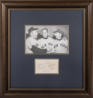 Mickey Mantle & Billy Martin Dual Signed Cut With Photo In 18x19 Framed Display (Beckett)