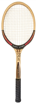 John McEnroe Signed & Inscribed Dunlop Tennis Racquet From Dick Enberg Collection (Letter of Provenance & Beckett PreCert)