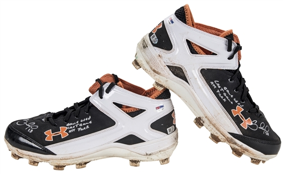 2014 Pablo Sandoval World Series Game 5 Used, Signed & Inscribed Under Armour Cleats Used on 10/26/2014 (MLB Authenticated & PSA/DNA)