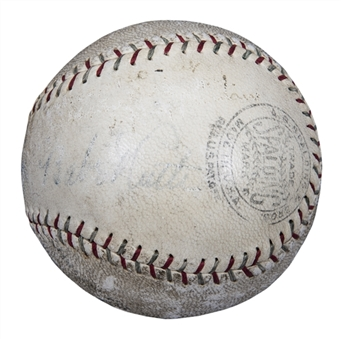Babe Ruth & Lou Gehrig Dual Signed Baseball With Gehrig On The Sweet Spot (PSA/DNA)