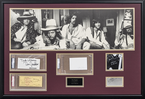 Eagles Band Individual Signed Cuts With Photo In 38x26 Framed Display (PSA/DNA & JSA)