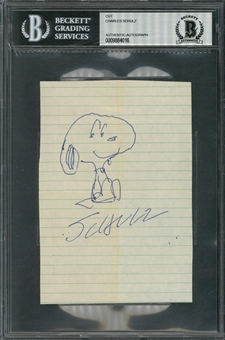 Charles Schulz Signed & Hand Drawn Snoopy Sketch (Beckett)