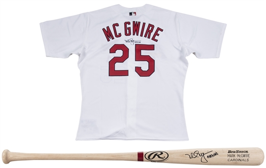 "Lot of (2) Mark McGwire Signed & ""583 HRs"" Inscribed St. Louis Cardinals Home Jersey & Rawlings MAC25 Model Bat (JSA)"