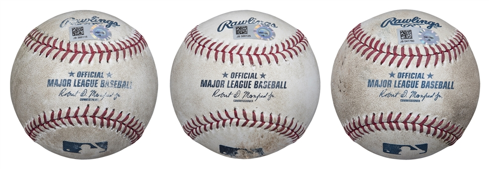 Lot of (3) 2016 New York Mets Game Used OML Manfred Baseballs (MLB Authenticated)