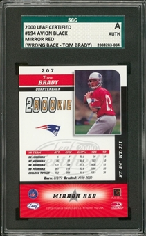 "2000 Leaf Certified Mirror Red #194 Avion Black ""Wrong Back"" Error Card (Rookie Tom Brady Reverse) – SGC Authentic"