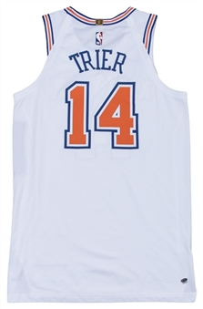 2018 Allonzo Trier Game Used New York Knicks White Statement Jersey Used on 10/26/2018 vs. Golden State Warriors (Steiner)