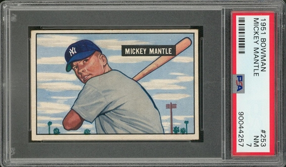 1951 Bowman #253 Mickey Mantle Rookie Card – PSA NM 7