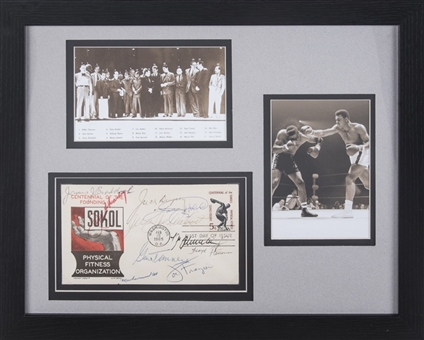 Boxing Champions Multi Signed Cachet With 10 Signatures Including Ali, Braddock & Dempsey In 15x12 Framed Display (JSA)