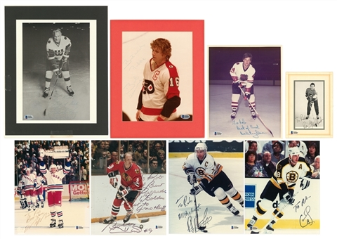 Lot of (8) Hockey Greats Signed 8x10 Photos Including Messier, Howe & Orr (Beckett)