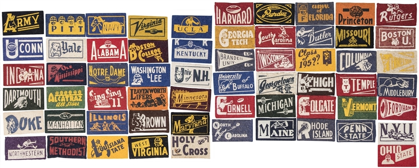 1950s American Nut and Chocolate College Football Pennant Set