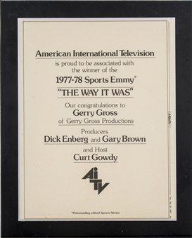 "1977-78 American International Television Sports Emmy Presented To Dick Enberg For ""The Way It Was"" (Letter of Provenance)"