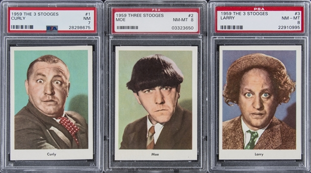 "1959 Fleer ""Three Stooges"" Portrait Cards PSA NM 7 and PSA NM-MT 8 Trio (3 Different) – Including #s 1 Curly, 2 Moe and 3 Larry"