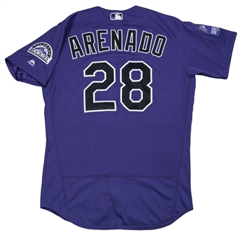 2018 Nolan Arenado Game Used Colorado Rockies Alternate Jersey Used For 4 Games Including 2 Home Run Games (MLB Authenticated)