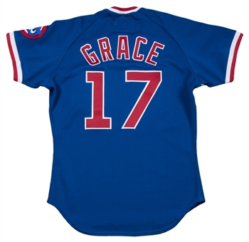1988 Mark Grace Game Used & Signed Chicago Cubs Road Jersey (MEARS A8 & JSA)