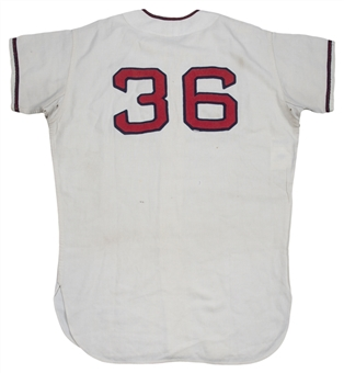 1964 Bo Belinsky Game Used, Signed & Inscribed Los Angeles Angels Home Jersey (MEARS A8.5 & JSA)