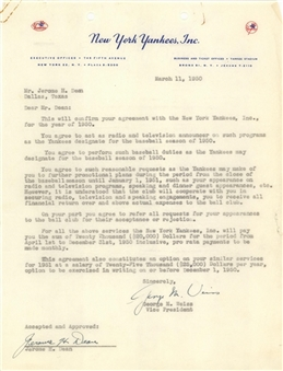 1950 Dizzy Dean & George Weiss Dual Signed New York Yankees Agreement (JSA)