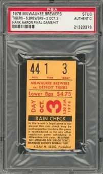 1976 Milwaukee Brewers vs Detroit Tigers Ticket Stub From 10/3/1976 - Hank Aaron Final Hit & Game (PSA)