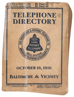 1916 Telephone Directory With Babe Ruth