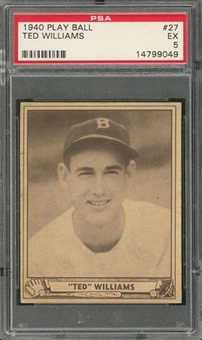 1940 Play Ball #27 Ted Williams – PSA EX 5