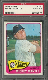 1965 Topps #350 Mickey Mantle – PSA EX+ 5.5