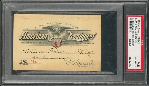 1929 American League Pass To All Parks - Valid For Babe Ruths 46 Home Run Season (PSA)