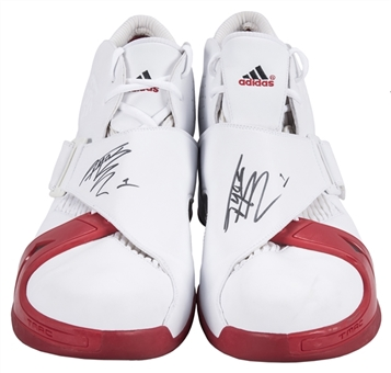 2005 Tracy McGrady Game Used & Signed Houston Rockets Adidas Sneakers (Player LOA & JSA)