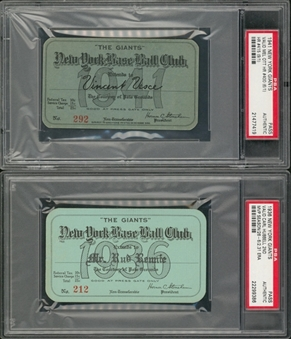 1936 And 1941 New York Giants Season Passes- Lot Of 2 (PSA)