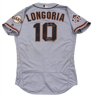 2018 Evan Longoria Game Used, Signed & Inscribed San Francisco Giants Road Jersey (MLB Authenticated & JSA)